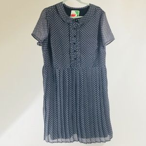 Fervour Modcloth Pleated Dress Blue Size 1X